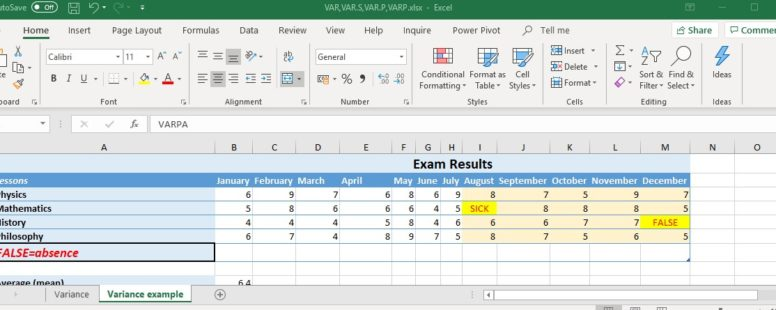Excel Statistics – Calculating the Variance – Excelpedia