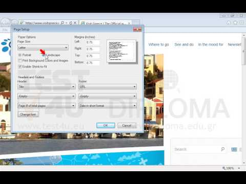 Change the orientation of the printed page into landscape and print the current page to the default printer.