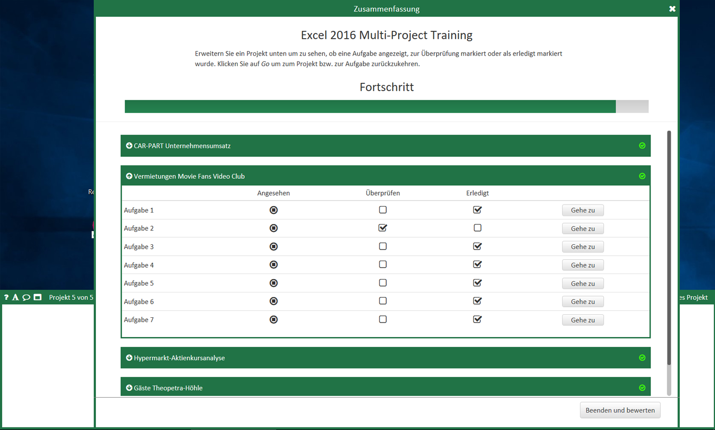 MOS Excel Multi - project