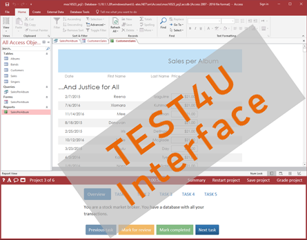 compare test4u mo exam inteface access 2