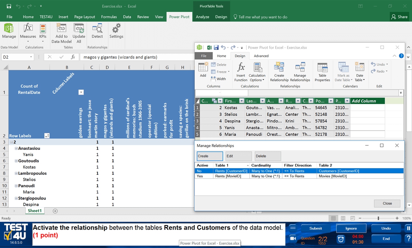 TEST4U Excel Advanced Features and Functions-English version