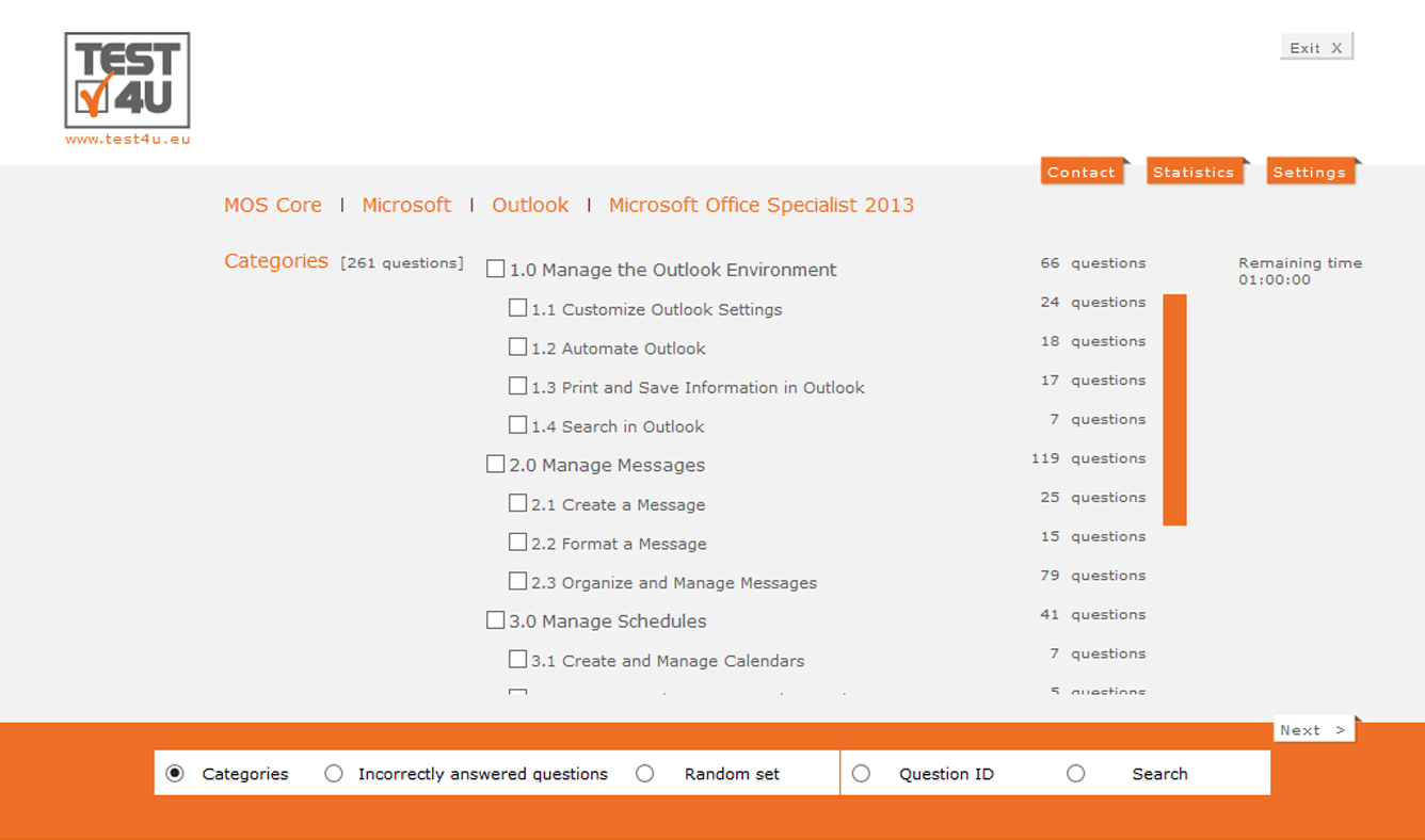 77-423 Microsoft Office Specialist Outlook Core 2013-English version